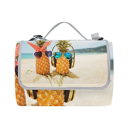 ALAZA Pineapples Love Sea Beach Outdoor Picnic Blanket Beach Handy Mat for Travel, Camping, Hiking and Music Festival 56x58 inch