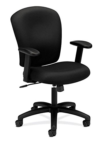 HON Mid Back Task Chair - Fabric Computer Chair with Arms for Office Desk, Black