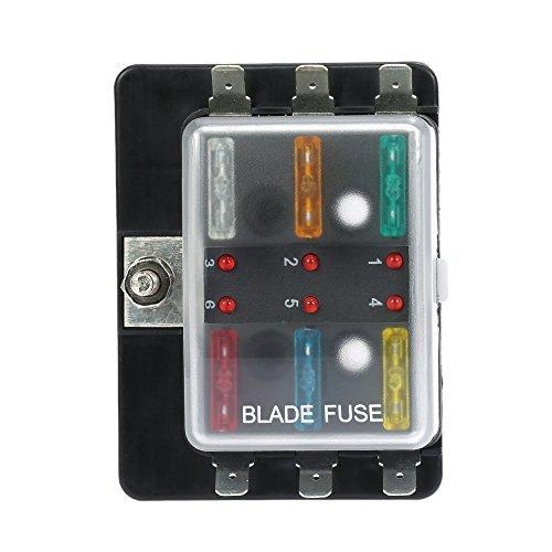 KKmoon DC12V 6 Way Blade Fuse Box Holder with LED Warning Light Kit
