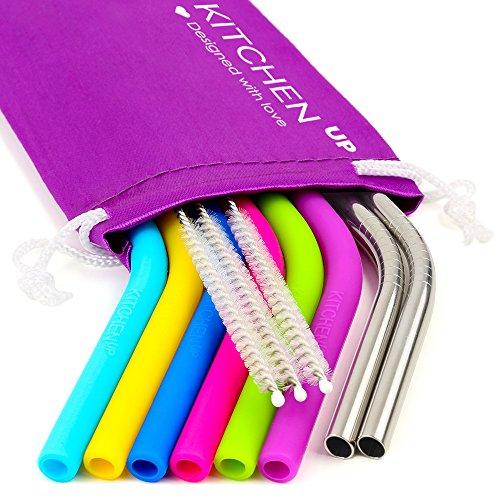 REGULAR SIZE Silicone Straws for 30 oz Tumbler & Stainless Steel Straws Bundle - 6 Silicone Straws for Yeti/Rtic/Ozark + 2 Brushes + 2 Metal Straws - Reusable Straws Extra Long + 1 Storage Pouch