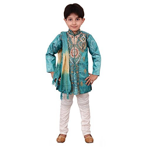 Ahhaaaa Kids Ethnic Indian Festive and Party Wear Sherwani and Breeches With Dupatta Set For Boys Blue 6-7 Years