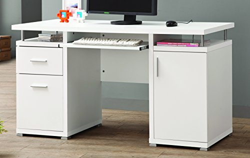 Coaster Contemporary Computer Desk with 2 Drawers and Cabinet, White