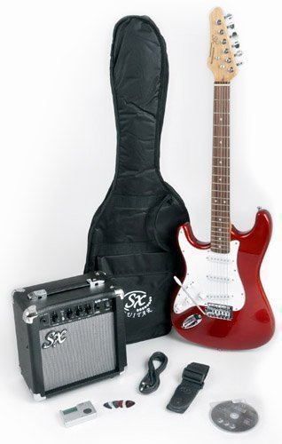 RST CAR LH Left Handed Red Electric Guitar Package with Full Size Electric Guitar, Amp, Carry Bag, and Instructional DVD