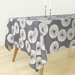 Roostery Tablecloth - Grey White Mint Black Circle Round Geometric Dots Rain Spots Points Umbrella by Friztin - Cotton Sateen Tablecloth 70 x 144