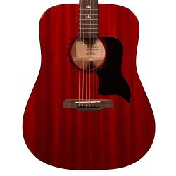 Sawtooth Modern Vintage Dreadnought Acoustic Guitar, Trans Cherry Red