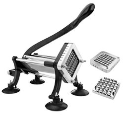 New Star Foodservice Commercial Grade French Fry Cutter with Suction Feet, 1/2 Inch and 3/8 Inch Blades, Limited Edition Black