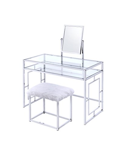 ACME Furniture Josh White and Chrome Vanity and Stool