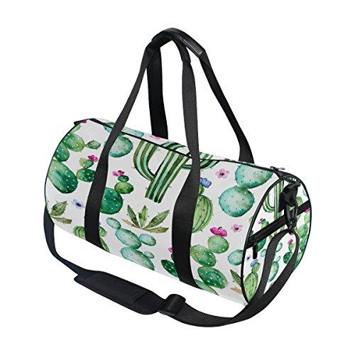 ALAZA Summer Watercolor Cactus Travel Duffel Bag Sport Gym Luggage Bag for Men Women