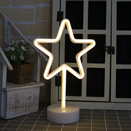 DELICORE Star Neon Signs, LED Neon Light Sign with Holder Base For Home Party Birthday Bedroom Bedside Table Decoration Children Kids Gifts (Star with holder)