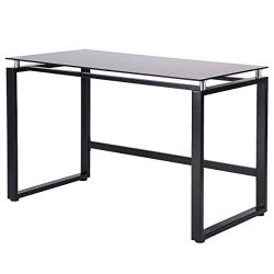 Merax Home Office Computer Desk Simple Design Table Workstation with Glass Top (Black)