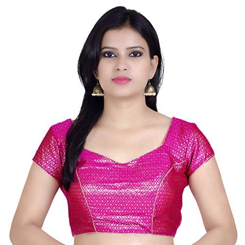 Chandrakala Women's Designer Bollywood Readymade Pink Saree Blouse Padded Brocade Choli (B106)