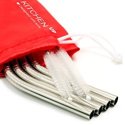 Stainless Steel Straws Complete Bundle - Reusable Straws Bpa Free - Metal Straws for Yeti/Rtic/Ozark - Reusable Straws Stainless Steel + 2 Brushes + 1 Red Pouch