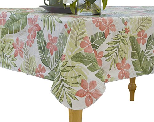 """Elrene Home Fashions Vinyl Tablecloth with Polyester Flannel Backing Tropical Leaf Easy Care Spillproof, 60""""x120"""", Green"""