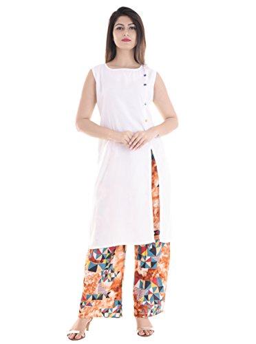 BrightJet Attractive Designer White Rayon Women Fashion Printed Kurti Straight fit Kurta Top Tunic with Printed Palazoo Party Dress Combo Pack (M)