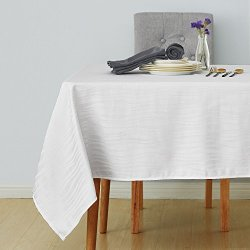 Deconovo Decorative Jacquard Tablecloth Vibrant Waves Wrinkle and Water Resistant Spill-Proof Rectangle Tablecloths for Wedding Decoration 60 x 102 inch White