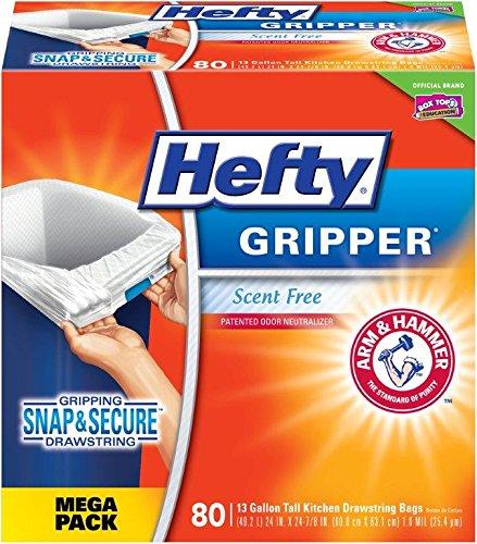 Hefty Gripper Trash/Garbage Bags (Odor Control, Kitchen Drawstring, 13 Gallon, 80 Count)