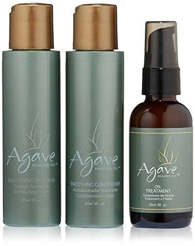 Agave Healing Oil - Smoothing Trio. Anti-Frizz Hair Treatment Set Hydrates & Heals Damaged Hair. Includes Agave Oil Smoothing Shampoo, Smoothing Conditioner, and Lightweight Healing Oil Treatment
