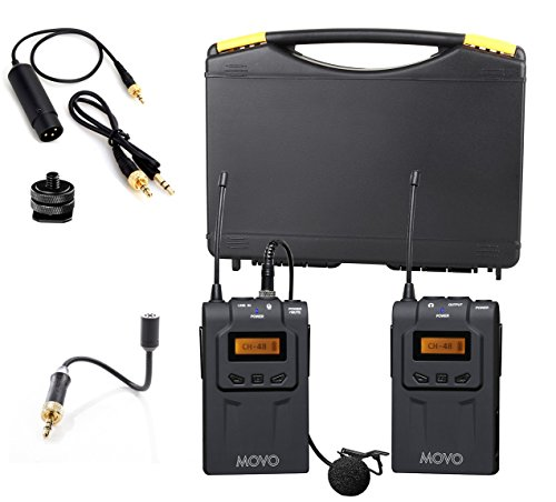 Movo WMIC70 Wireless UHF Lavalier & Goosneck Microphone System with Goosneck Mic, Omni-Lav, Camera Mount & 3.5mm/XLR Outputs (328-foot Range)