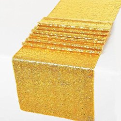 """12"""" X 108"""" Sequin Table Runner for Wedding Party Banquet Rectangular and Round Table by GW Home (Gold)"""