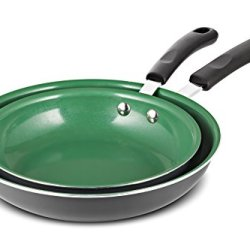 """[2018 Version] Chef's Star Frying Pan Non stick Ceramic Omelette Cooking Set - Even Heat Saute Pan/Skillet Set - Supreme Frying Pans 10"""" and 8"""" inch Cookware Set - Green"""