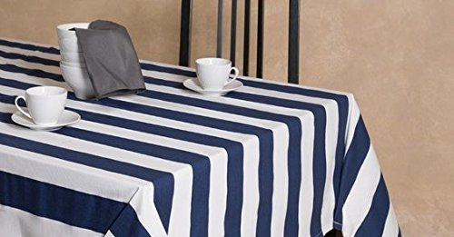 """lovemyfabric Cotton 2 Inch Navy Blue & White Stripes Tablecloth for Wedding/Bridal Shower, Birthdays, Special Events (58""""X58"""")"""