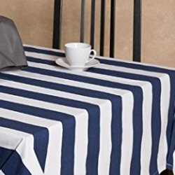 "lovemyfabric Cotton 2 Inch Navy Blue & White Stripes Tablecloth for Wedding/Bridal Shower, Birthdays, Special Events (58""X58"")"