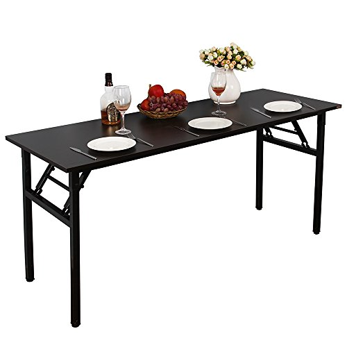 """Need Computer Desk Office Desk 63"""" Folding Table with BIFMA Certification Computer Table Dining Table No Install Needed, Black"""