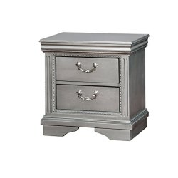 HOMES: Inside + Out IDF-7199N Furniture of America Archer Transitional Nightstand, Silver Grey