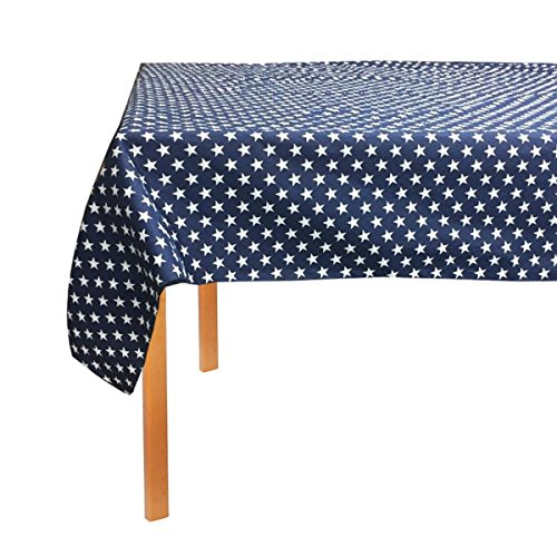 """lovemyfabric Poly Cotton Patriotic Stars Print Tablecloth For Party, Dinner National Events (58""""X58"""", Navy Blue)"""