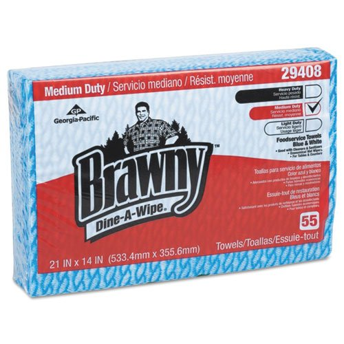 Brawny Dine-a-wipe Foodservice Towels, 14 X 21, Blue/white, Hydroknit