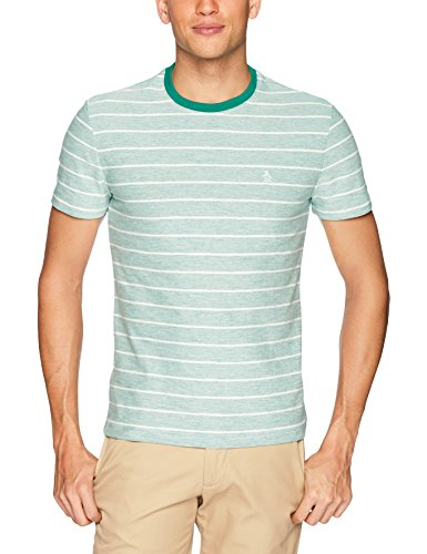 Original Penguin Men's Reverse Plaited Feeder Stripe Polo, Shady Glade, Extra Large