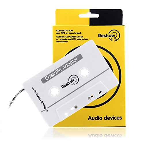Reshow Travel Cassette Adapter for Cars ¨C Listen to iPods, Smartphones, MP3 Players or a Walkman in a Standard Vehicle Cassette Player ¨C Vintage/Retro Music Converter White