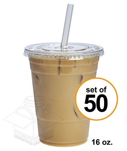 Comfy Package 16 oz. Crystal Clear Plastic Cups With Flat Lids [50 Sets]