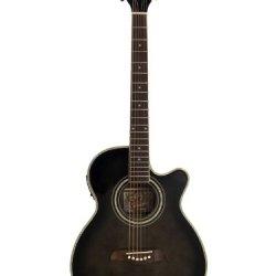 Oscar Schmidt OG10CE Cutaway Acoustic-Electric Guitar - Flame Transparent Black