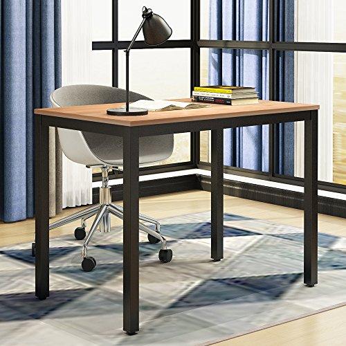 Need Computer Desk- 39.37'' Length Computer Table Study Writing Desk Gaming Desk Home Office Desk, Teak Color Desktop+ Black Frame