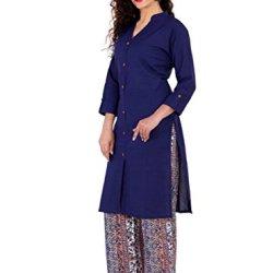BrightJet Designer Purple Cotton Frontslit Women Fashion Kurti A-line Kurta Top Tunic with Rayon Printed Floral Plazzo Set Party Dress Casual (M)
