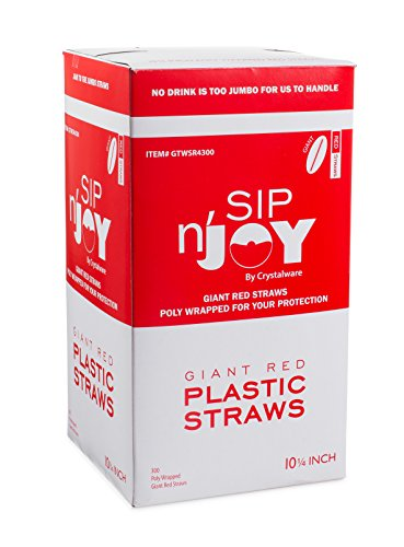 Crystalware Plastic Giant (Jumbo) Straws Individually Paper Wrapped 10-1/4 Inches 300 Per Box, Red