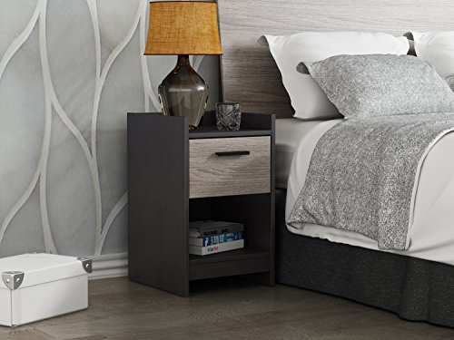 Homestar Central Park Night Stand, 1 Drawer Nightstand, Java Brown and Sonoma