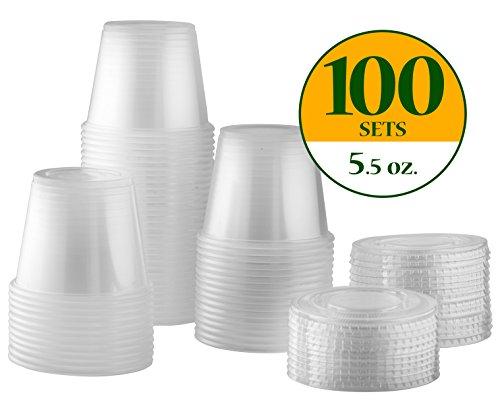 5.5 oz. Plastic Disposable Portion Cups With Lids [100 Sets] Souffle Cups, Condiment Cups