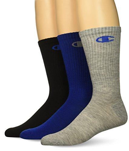 Champion Men's Dyed Crew Socks 3-Pack, Blue Assortment, 6-12