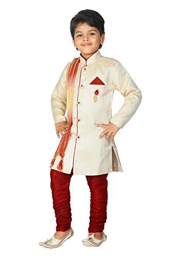 Ahhaaaa Kid's Ethnic Indian Sherwani Dupatta and Breeches Set Special Traditional Collection for Boys (2-3 Years, Cream)