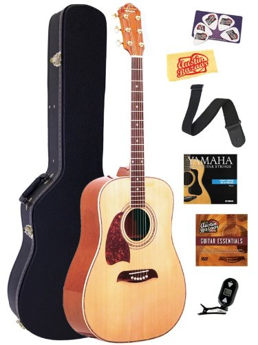 Oscar Schmidt OG2 Left-Handed Dreadnought Acoustic Guitar Bundle with Hardshell Case, Tuner, Strap, Strings, Picks, and Polishing Cloth - Natural