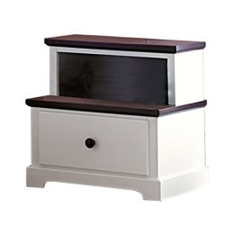 Homelegance Lark 1 Drawer Step Style White Nightstand with Espresso Top