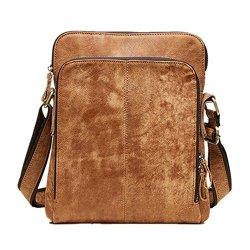 BAIGIO Leather Crossbody Handbag Messenger Bag Satchel Shoulder Bags for Men/Women (Brown)