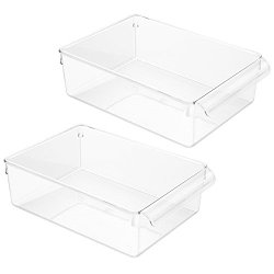 InterDesign Linus Pullz Kitchen Pantry Storage Organizer – Food Container Drawer, Clear, Large, 2-Pack