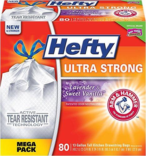 Hefty Ultra Strong Trash Bags (Lavender Sweet Vanilla, Tall Kitchen Drawstring, 13 Gallon, 80 Count)