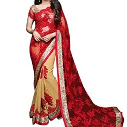 Aarah Women's Ethnic Wedding And Party Wear Awesome Color Saree Free Size Red and Chiku