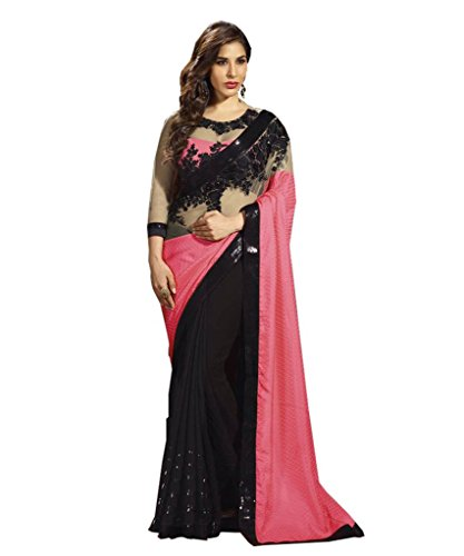 Aarah Women's Ethnic Wedding And Party Wear Saree Free Size Light Pink And Black