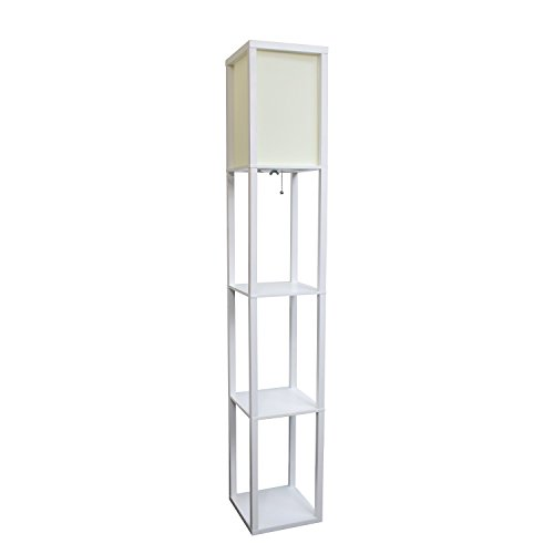 Simple Designs Floor Lamp Etagere Organizer Storage Shelf with Linen Shade, White