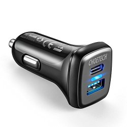 USB C Car Charger Quick Charge 3.0, CHOETECH 18W 3A Dual-Port Car Charger Adapter